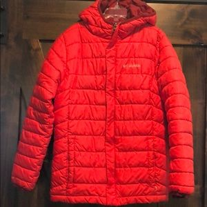 Boys red Columbia hooded puffer jacket sz M 10/12
